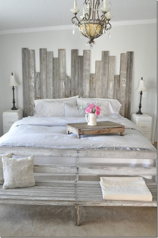 Vintage Country farmhouse, farmhouse style, bedroom inspiration, grey bedroom, French farmhouse, Pom Pom at Home bedding, fresh flowers, end of bed bench, Becky Cunningham home, Buckets of Burlap