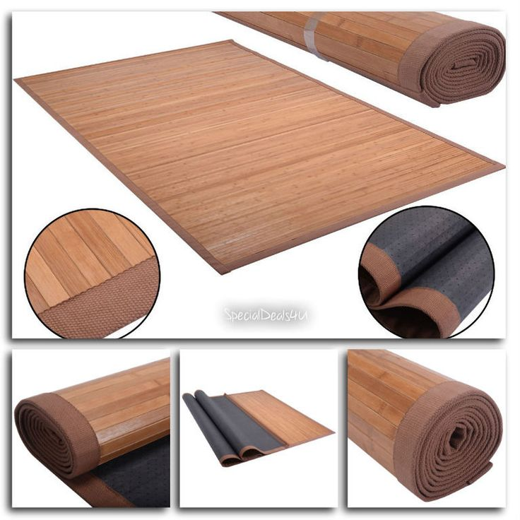 Camping Patio Deck Rug Natural Bamboo Carpet Area 5'x8' Outdoor Indoor Wood Home…