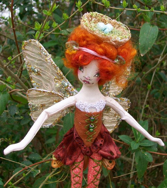 OOAK Fairy Art Doll Pixie Nested Egg Head  by paulasdollhouse, $80.00