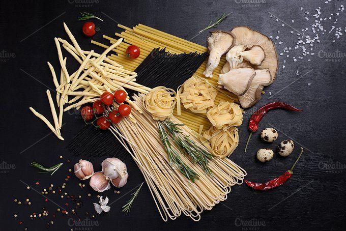 Dried pasta with fresh ingredients by Iuliia Leonova on @creativemarket