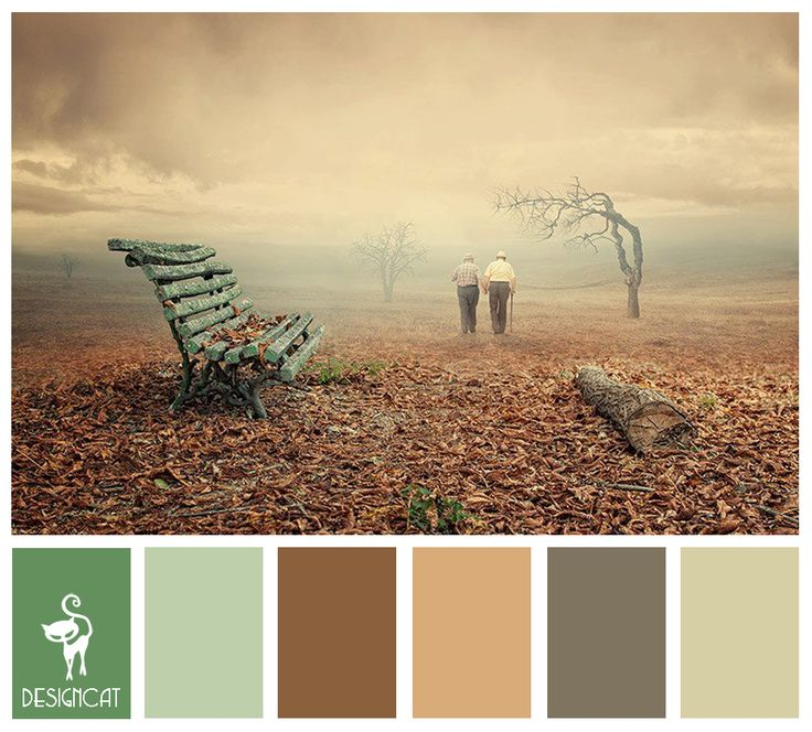 Old Bench: Green, Mist, Brown, Sand, Stone, Beige - Colour Inspiration Pallet