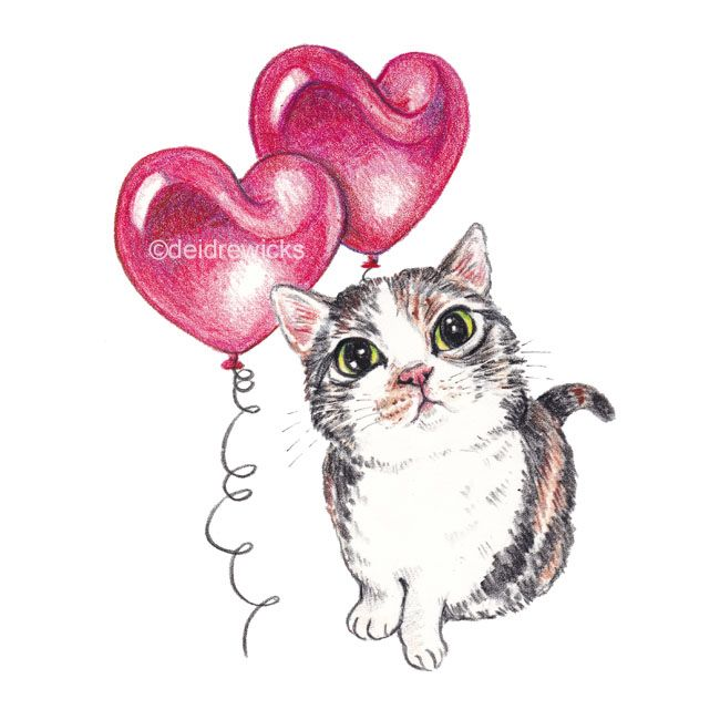 Be My Valentine? / Cat art by Deidre Wicks