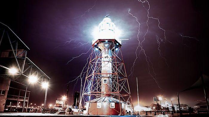 Port Adelaide Lighthouse Australia, Lighting Storm | Bored Panda
