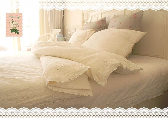 Shabby Chic Arts: 100% Cotton Vintage Creamy Embroidery Duvet Cover and Bed Sheet, King Size or Queen Size Bed