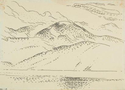 Dissolving Mist, Saseenos, B.C. | FitzGerald, Lionel LeMoine (Canadian; ink on paper; 1948)