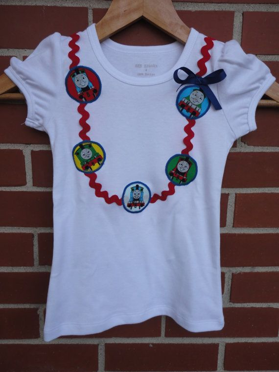 girls thomas the train  girls thomas shirt  train shirt  necklace shirt  made to order 12 month
