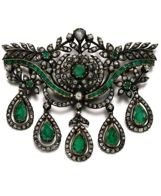 Emerald and diamond devant de corsage, 19th century. Of foliate design, set with…