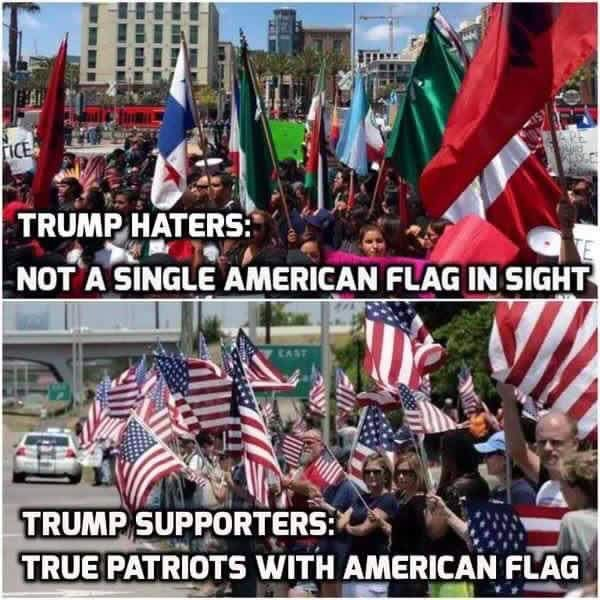 Trump supporters are proud Patriots and wave the American flag!