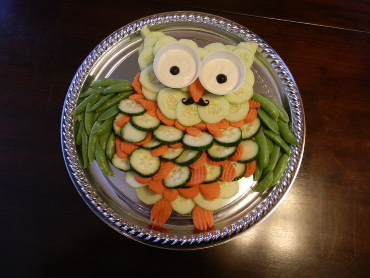 """I used an idea that I had seen posted on the internet for an Owl Veggie Platter to create my own Veggie  Tray for my grandson's 1st Birthday Party with a mustache & ties theme -- since he is now a """"Little Man"""""""