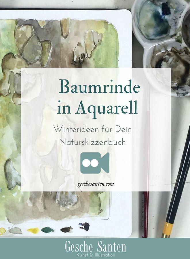 Baumrinde In Aquarell Winterideen Fur Dein Naturskizzenbuch