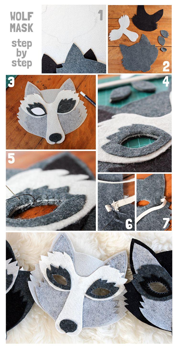 DIY wolf mask tutorial, wool felt wolf mask, oh my handmade