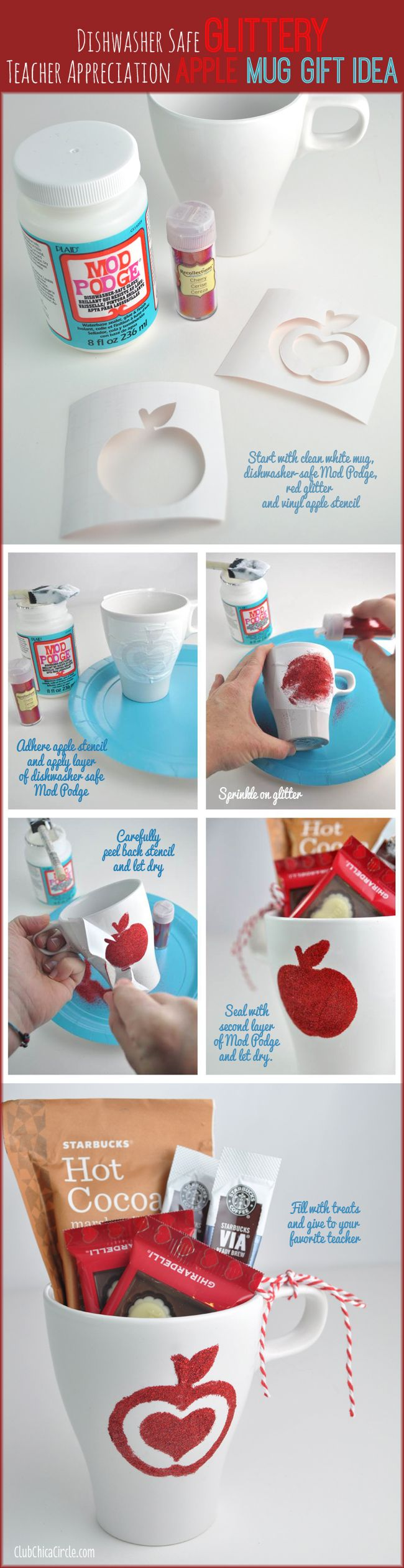 Dishwasher Safe Glittery Mod Podge Teacher Appreciation Mug Gift Idea and Craft