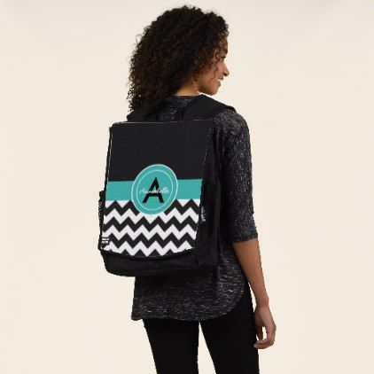 Black Teal Chevron Backpack - monogram gifts unique custom diy personalize