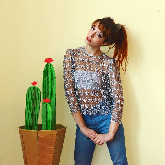 70s genuine vintage lace crop top blouse with 3/4 puff sleeves // romantic preppy feminine folk seventies