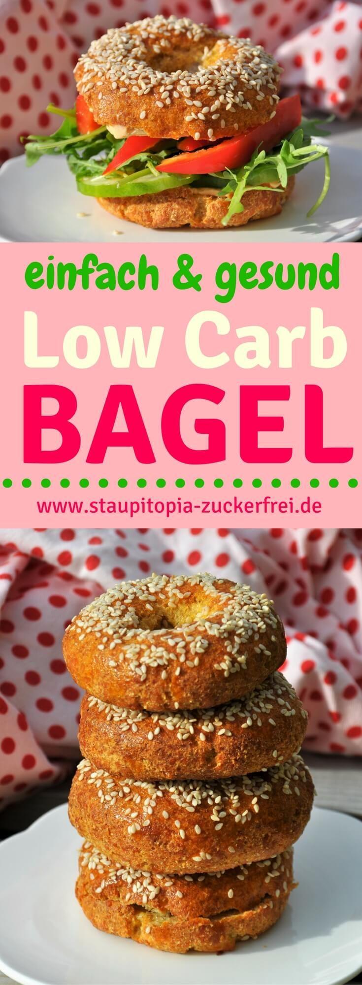 Low Carb Bagel einfach und gesund: Schon bei dem Gedanken an diese Low Carb Bagel läuft mir das Wasser im Mund zusammen. Die Bagel sind ein köstlicher Brotersatz für alle die sich Low Carb ernähren und auf Kohlenhydrate verzichten wollen. Sie bestehen aus einem glutenfreien, leckeren und luftigem Teig, der sich durch den Mozzarella wunderbar formen lässt. Genau das richtige Rezept für eine genussvolle Low Carb Brotzeit am Abend. #lowcarb #bagel #ohnekohlenhydrate #ohnemehl #glutenfrei