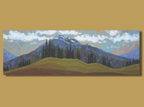 abstract painting mountain range panoramic by SageMountainStudio