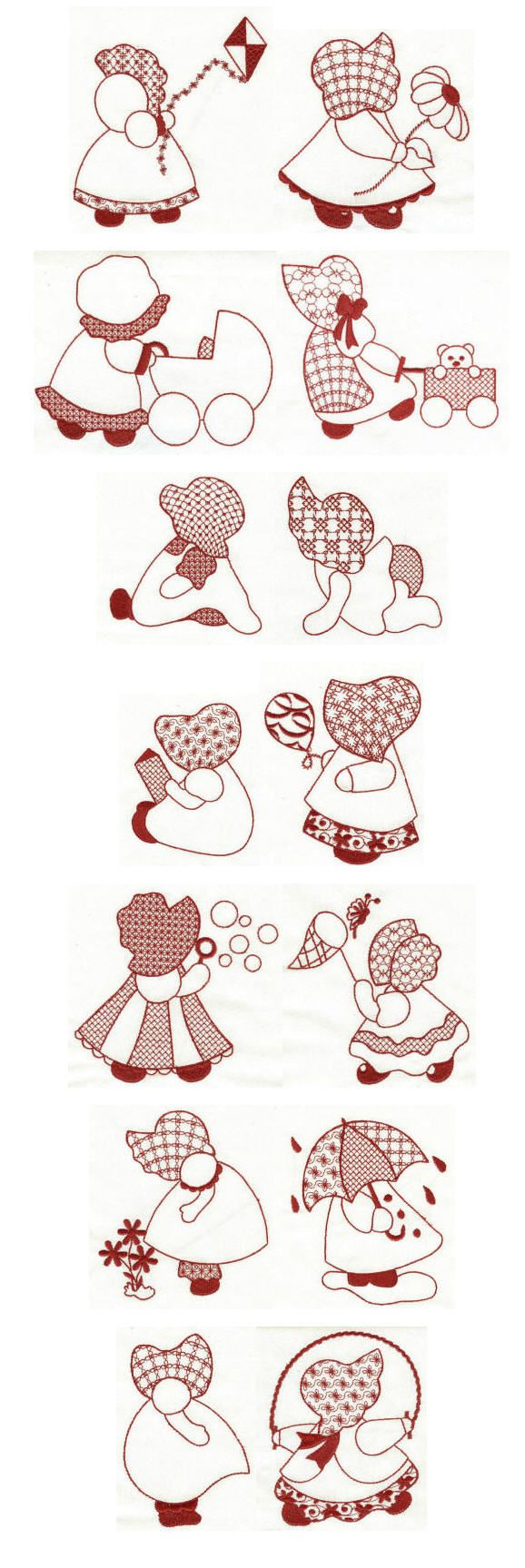 Embroidery designs | Free machine embroidery designs | Simply Sunbonnets Redwork 4x4