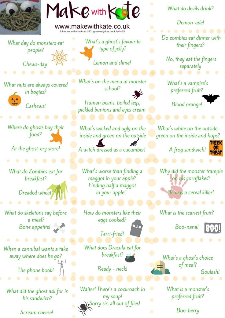 Free printable jokes for Halloween trick or treaters. Have them cut out and ready for Halloween visitors.