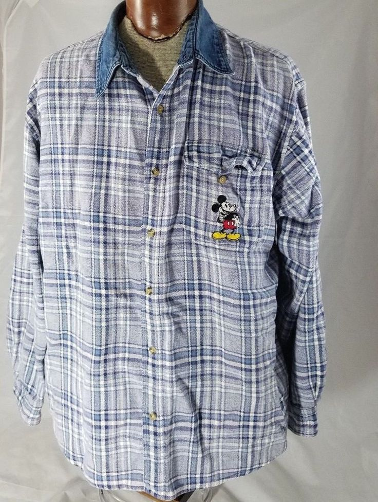 VTG Disney Store Mens Flannel Denim Collar Plaid Shirt Mickey Embroidered XXL #TheDisneyStore #CasualShirts
