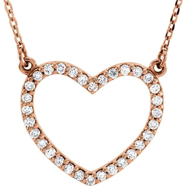 Diamond Petite Heart Necklace In 2021 Pink Gold Jewelry 14k Rose Gold Jewelry Open Heart Necklace