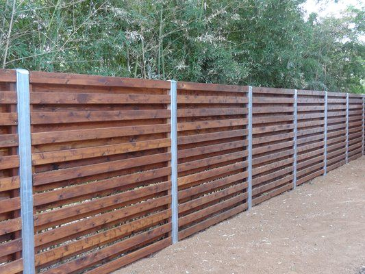 cedar shadowbox fence with 4 in steel/zinc posts | Some ...