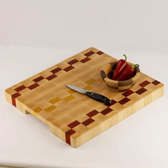 immediate shipping maple end grain butcher block chopping block cutting board with padauk and yellow heart accents