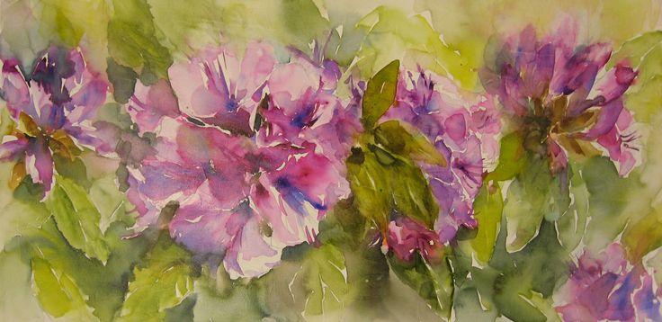Rohododendron, aquarel op doek