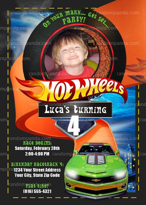 Personalize Hot Wheels Invitation, Hotwheels Party, Hot Wheels Birthday Invite by therandompanda on Etsy https://www.etsy.com/listing/91609658/personalize-hot-wheels-invitation