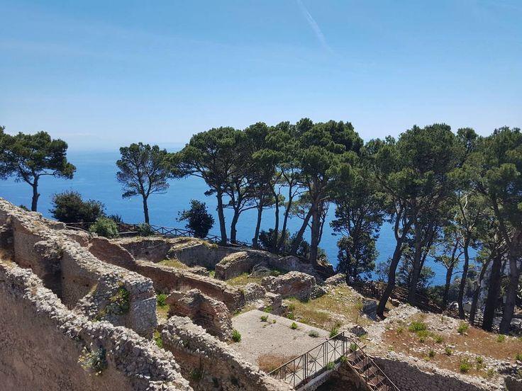 "Ruins of Villa Jovis (""Villa of Jupiter"") on Capri Italy  #capri #italy #island #travel #afternoon #villa #jovis #villajovis #jupiter #roman #palace #romanpalace #old #architecture #oldarchitecture #bluesky #clouds #galaxys6"
