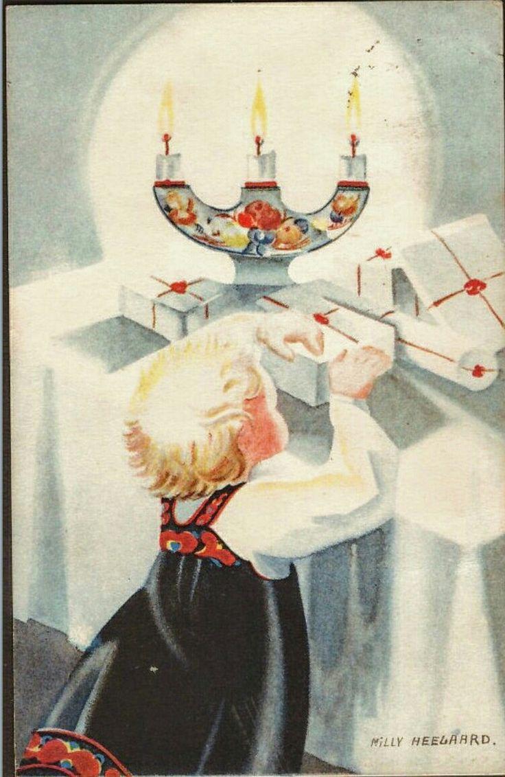 Julekort Milly Heegaard. Jente med pakker.  Utg Mittet Stemplet 1941