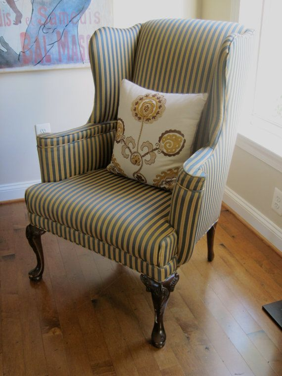 Stylish and comfortable 1960s Forest green and gold, Queen Anne wing back fireside chair. Original fabric is in very good condition for its age as