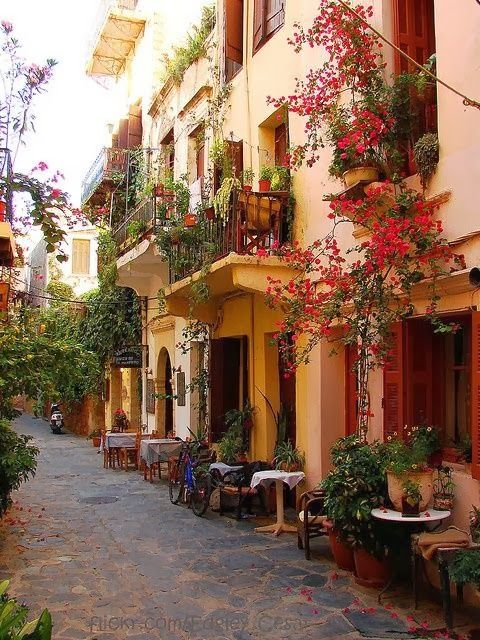 ~Sidewalk Cafe, Crete, Greece~