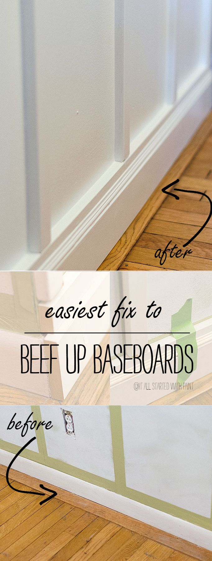 Easy Way To Beef Up Your Baseboards Without Removing Old Baseboards; Simply Nail/Glue MDF Boards Over Old Baseboards