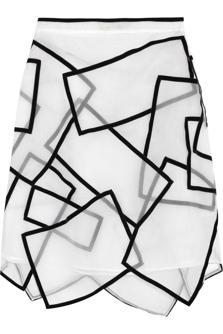 Christopher Kane|Paneled velvet-trimmed silk-voile skirt|NET-A-PORTER.COM