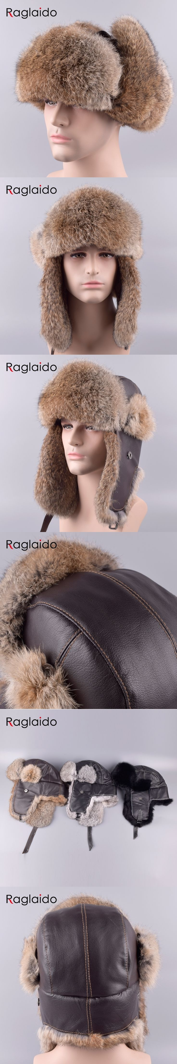 Raglaido Ushanka Fur Hats Outdoor Winter Real Rabbit Fur Trapper Hats+Genuine leather Adult snow caps Russian ear cap LQ11201R