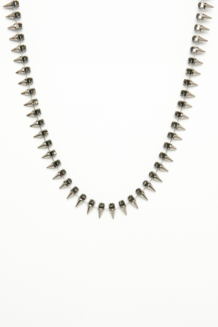 ShopSosie Style : Sparkle and Spike Necklace in Gunmetal
