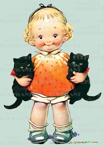 girl with black catsCat Art, Vintage Halloween, Little Girls, Black Kittens, Cat Illustration, Vintage Girls, Cards, Black Cat, Baby Cat