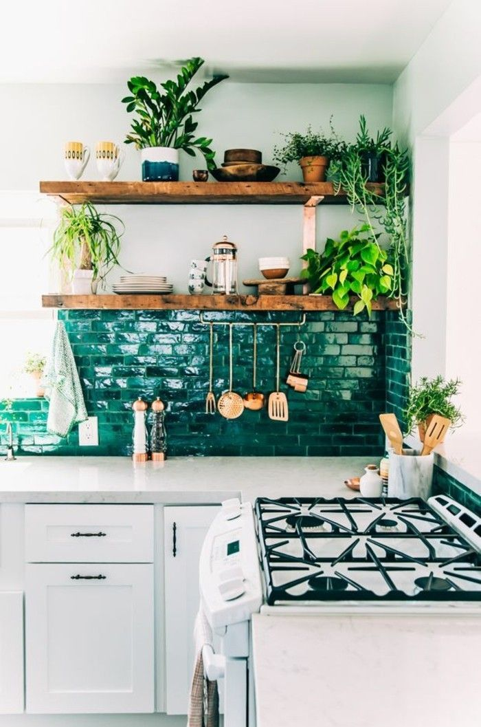 Home decor Boho Chic kitchen wall shelves wooden boards indoor plants