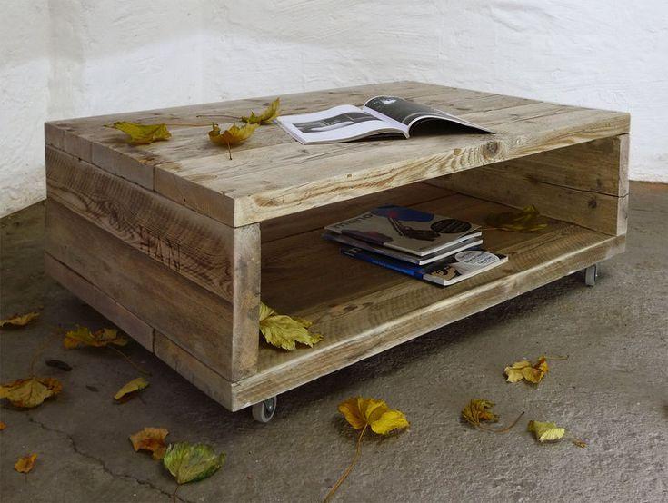 Couchtische - Design Couchtisch aus Bauholz auf Rollen TV-Tisch - ein Designerstück von up-cycle bei DaWanda (Diy Pallet Sofa)