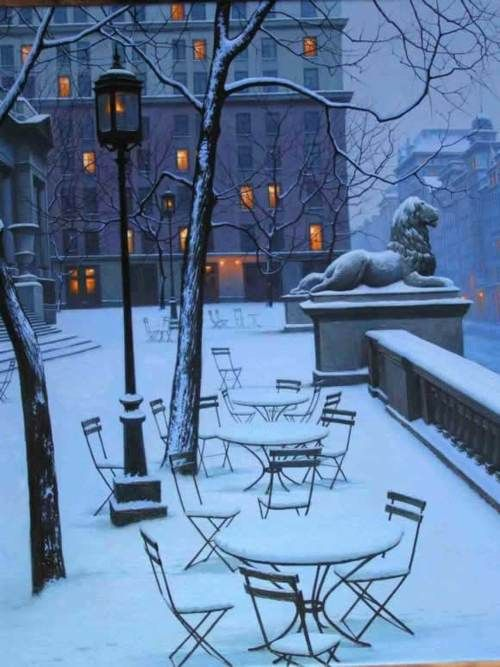 The New York City Public Library, Fifth Avenue in snow, uncredited