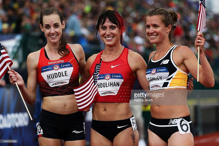 Molly Huddle, first place, Shelby Houlihan, second place, and Kim Conley, third place, celebrate after the Women's 5000 Meter Final during the 2016 U.S. Olympic Track