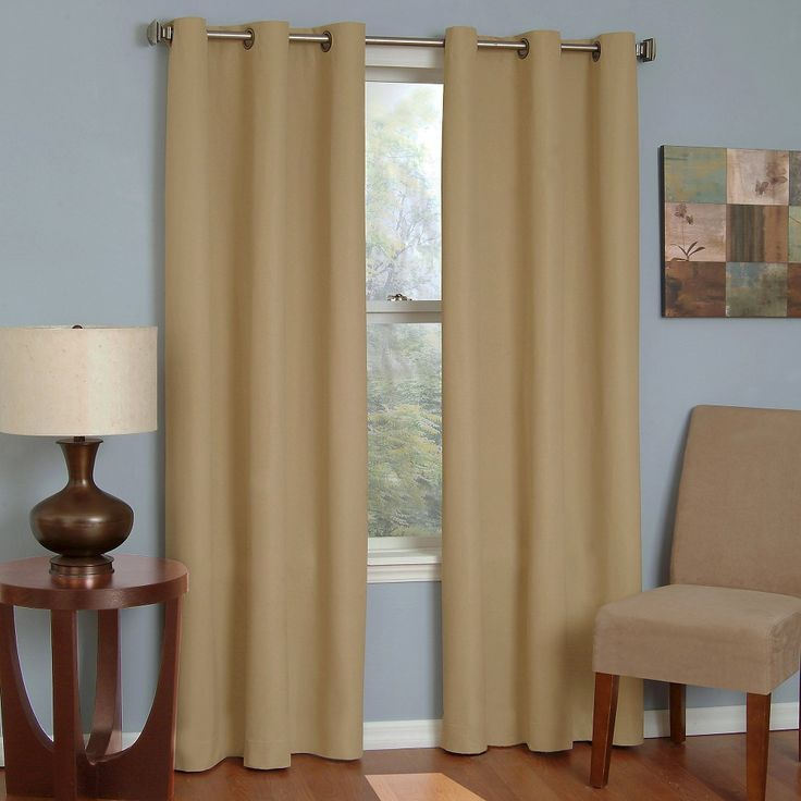 Eclipse Thermaback Microfiber Grommet Blackout Window Curtain Panel   Beige  ...