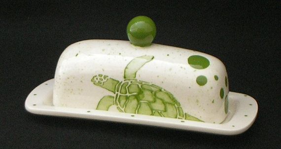 Sea Turtle Knobbed Butter Dish. Green. Handmade by Sara Hunter Designs.SHDesigns