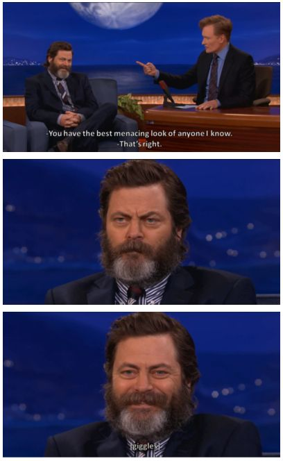 Ron Swanson on Conan. The most menacing look of any person in the world. Or is it?