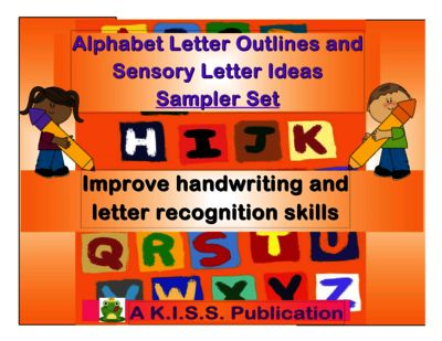 "Alphabet Letter Outlines and Sensory Activities Sampler Set from K.I.S.S.Teacher Publications on TeachersNotebook.com -  (7 pages)  - All 26 letters (capital and lower case) in outline format on 8""x11"" sized paper/ frames. Also includes a sample of sensory activities to use with each letter."