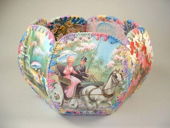 Vintage Handmade Greeting Card Basket Hand Sewn by ShopAtGeris, $14.50