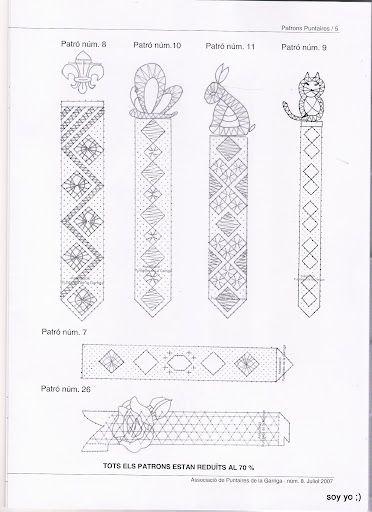 renda de bilros / bobbin lace marcadores / bookmarks, boekenlegger diverse modellen