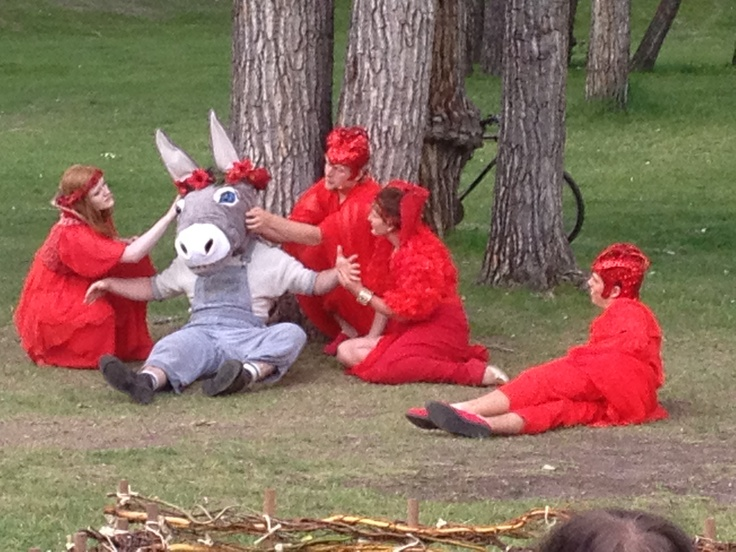 Bottom as a donkey and the fairies in the forest in A MIDSUMMER NIGHT'S DREAM.