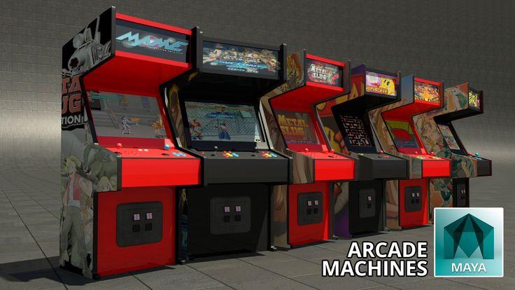 Autodesk Maya - Arcade Machines Demo (Free 3D Model Downloads)
