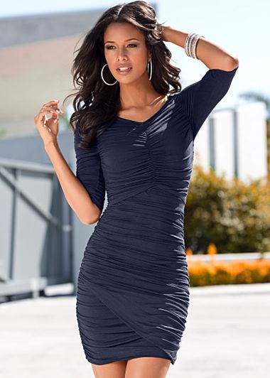 "Venus.com Navy (NV) Ruched Dress $34 Be ruched and be beautiful! Surplice hemline. · 20"" in length from natural waist · Viscose/spandex · Imported · Style #Y38728 More Details Orig. $49 SALE $34"